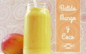 Licuado energético de Mango y Coco. Batido de Frutas