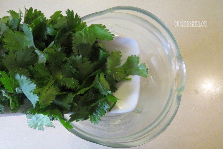 Colocar en la licuadora el cilantro con el ajo para elaborar la salsa del pozolillo