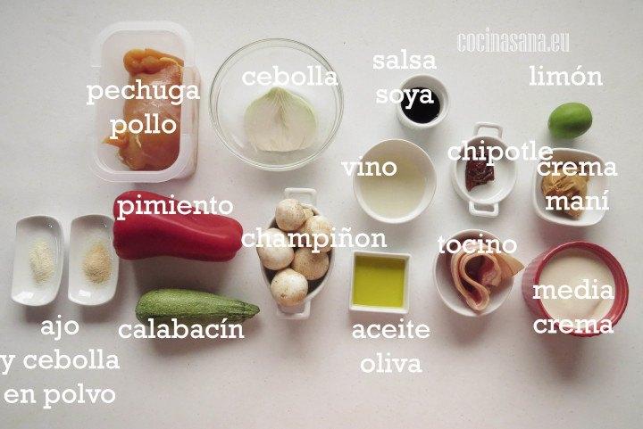 Ingredientes para preparar las Brochetas de Pollo