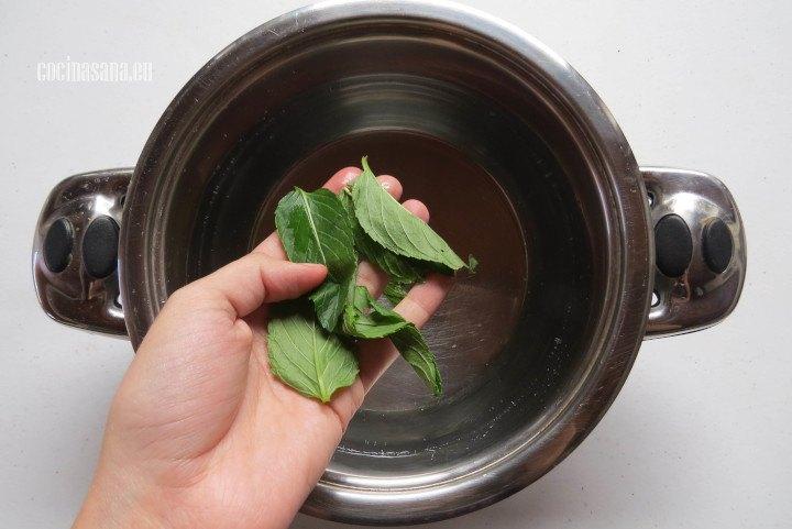 Añadir la Hierbabuena al agua y calentar hasta que se infusione perfectamente el agua.