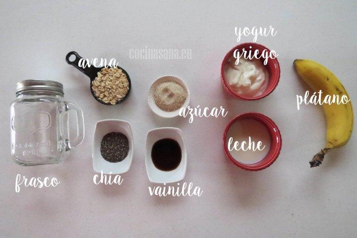 Ingredientes para la Avena Refrigerada