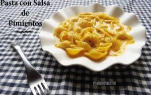 Pasta con Salsa de Pimientos Asados. Original Receta de Pasta