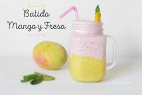 Batido de Fresa, Mango y Hierbabuena. Rico y fácil batido de frutas