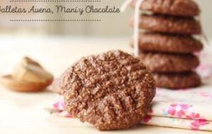 Galletas de chocolate. Galletas de Avena y mantequilla de Maní. Receta sin Huevo y Gluten