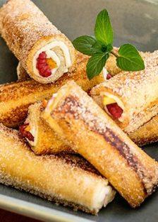 cómo hacer pan francés rollitos relleno de fruta