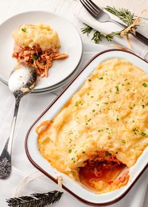 pastel de pavo con papas y queso parmesano
