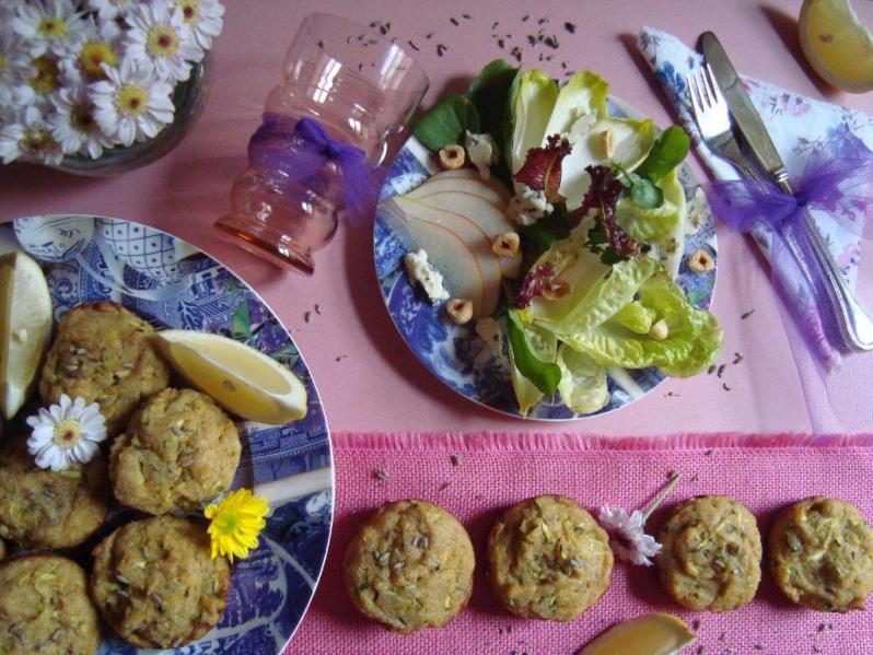 Muffins de lavanda, limón y zucchini