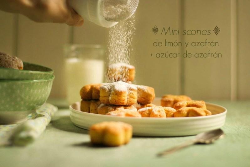 Mini scones dulces de limón y azafrán  + azúcar de azafrán. Gluten free!