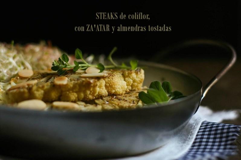 """""""Steaks"""" de coliflor, con Za'atar y almendras tostadas"""
