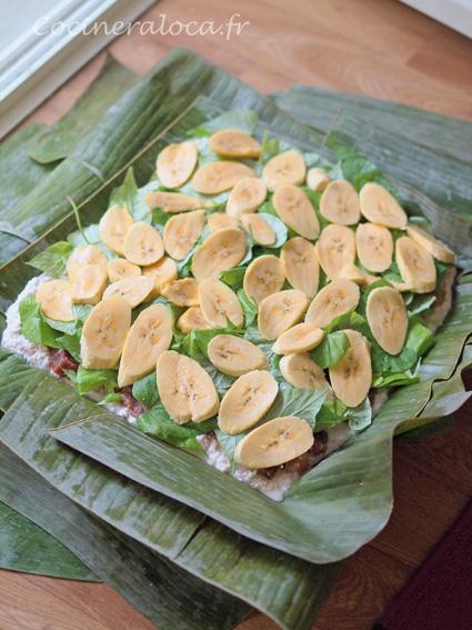 Lap lap du Vanuatu : couche de bananes plantains ©cocineraloca.fr