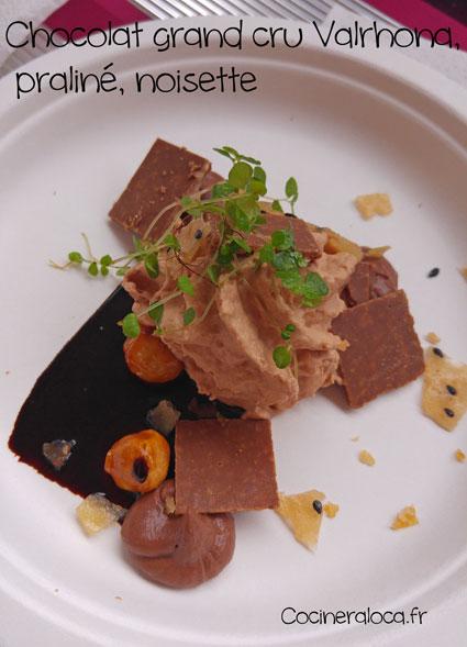 Chocolat Valrhona, praliné, noisette de Pierre Sang Boyer ©cocineraloca.fr