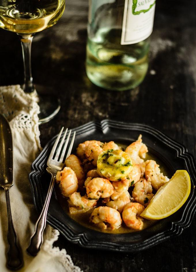 dublin bay prawns with garlic and white wine