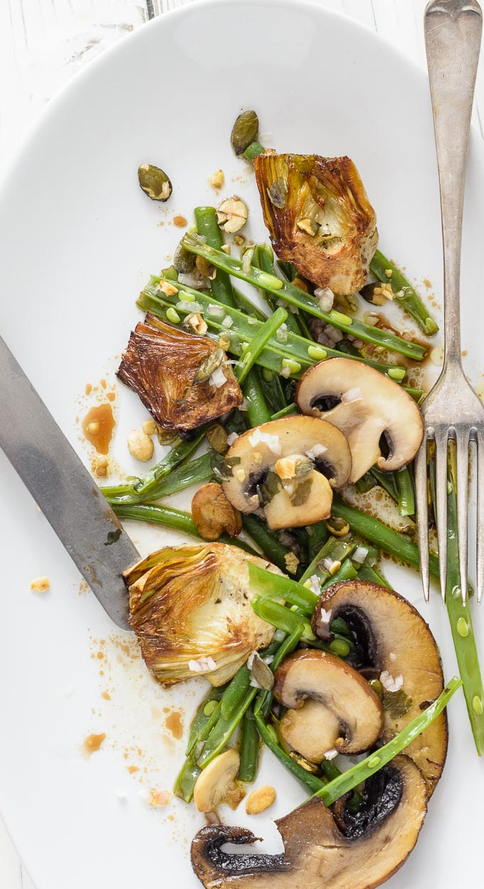 Marinated Artichoke Salad With Green Beans And Mushrooms