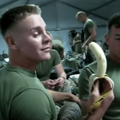 VIRAL: Watch Hunky Army Lad Deepthroat a Banana — That's All