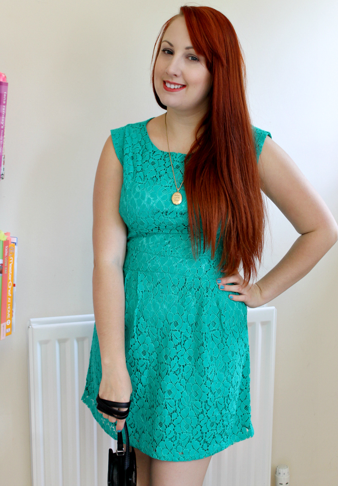 Cocktails in Teacups Fashion Blog Apricot Summer Dress Review Aqua Lace Structured Dress