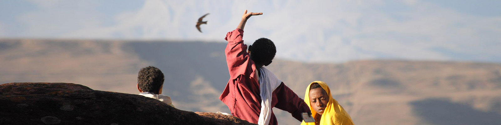 Ethiopian Boys And A Bird Courtesy Patty Malloy