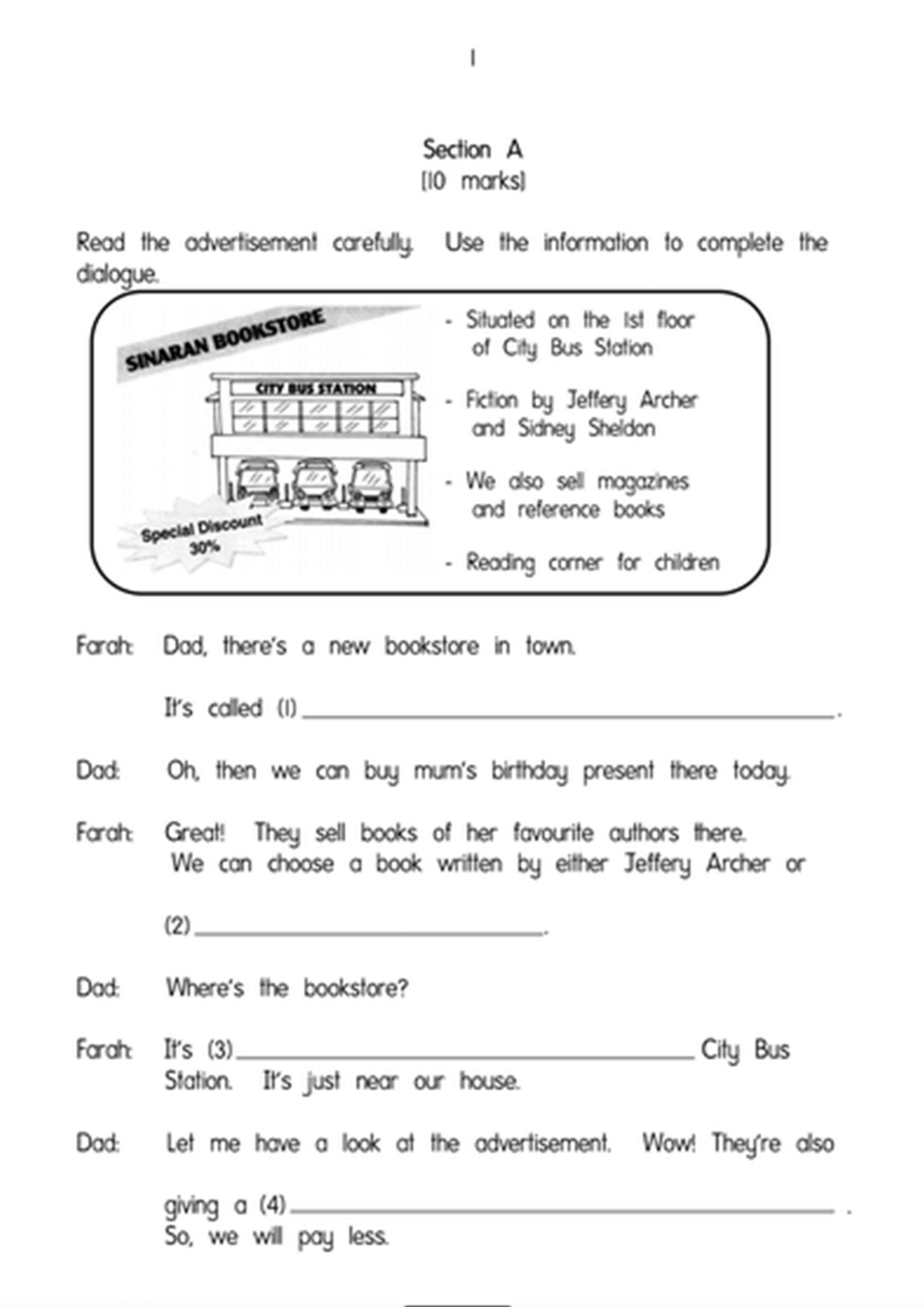 Sample Test Paper For English Kssr Year 6 Latest Format