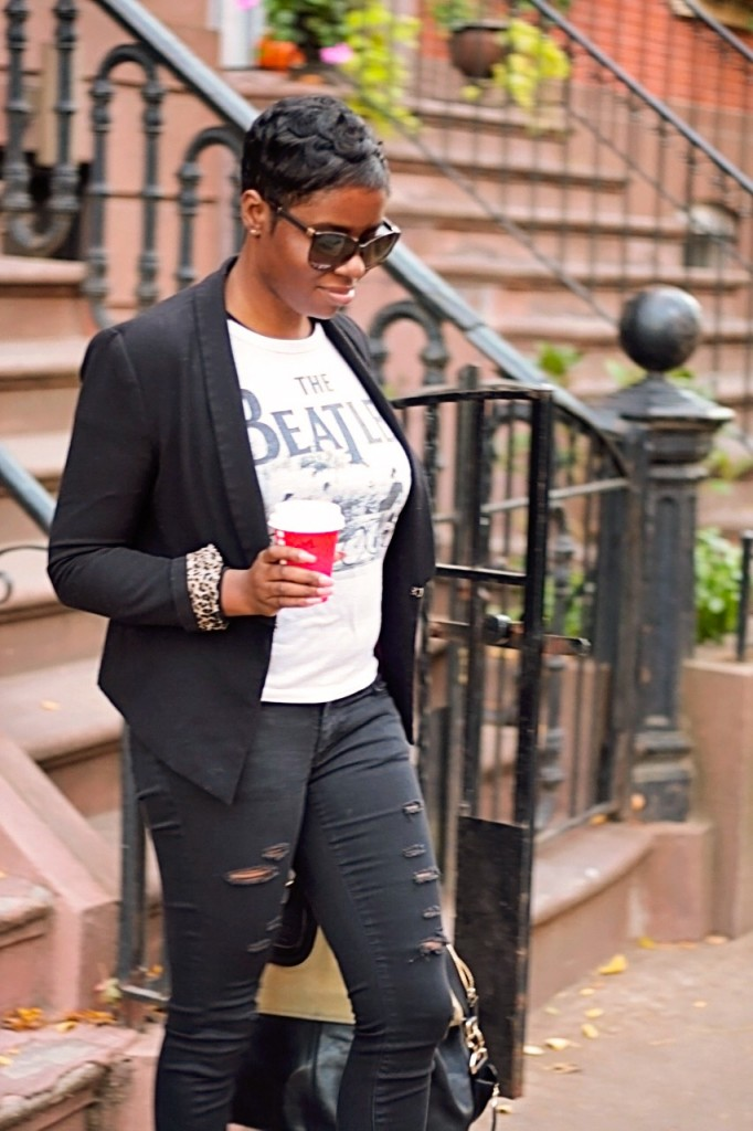 Signature Style Vintage Tee Ripped Jeans