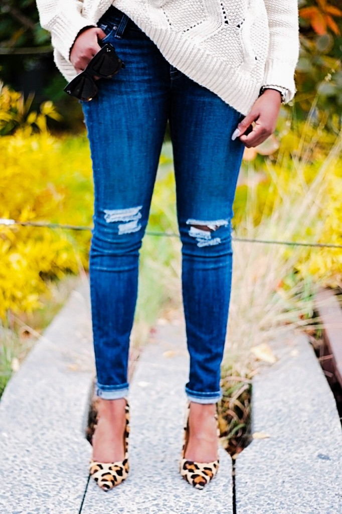Cream Sweater Ripped Jeans