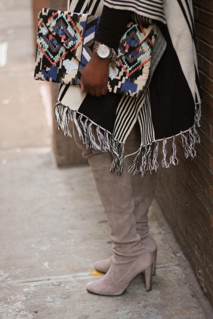 striped cape otk boots detail