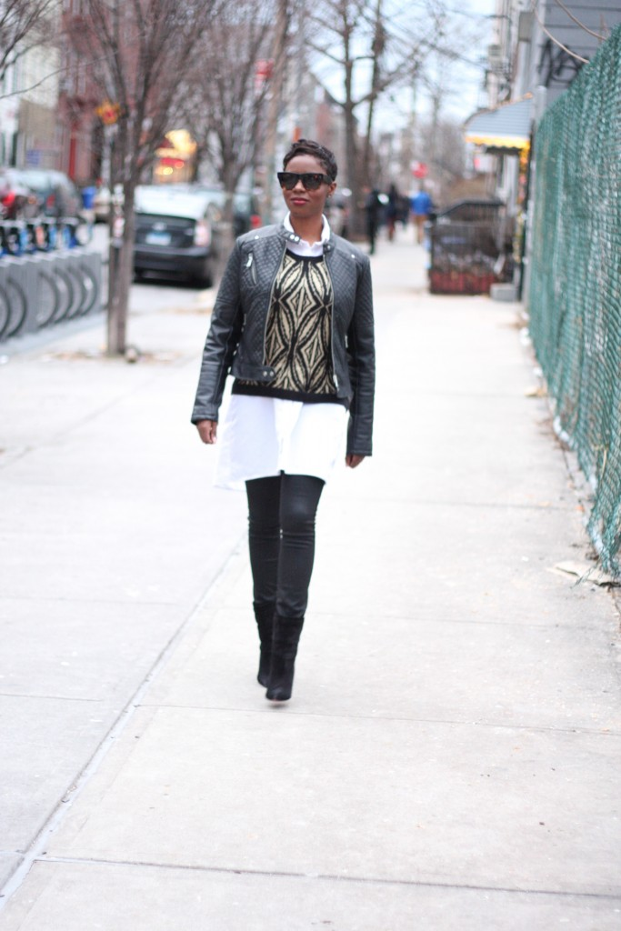 Leather Jacket Shirt Dress Art Deco Sweater Coated Jeans Louboutin Booties Layers