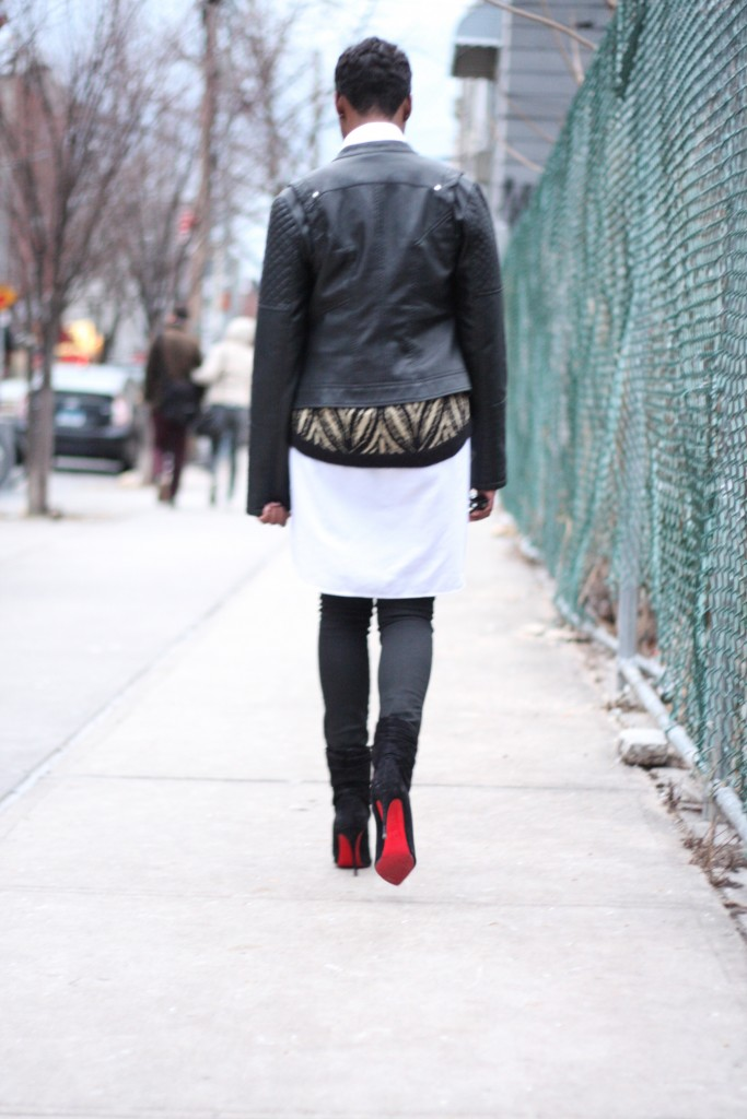 Leather Jacket Shirt Dress Art Deco Sweater Coated Jeans Louboutin Booties Layers Outfit Rear View