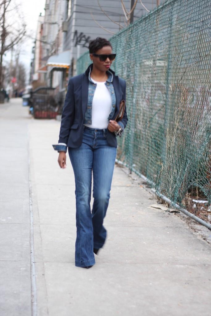 Navy Blazer Denim Jacket Layer Flare Jeans Outfit 2016