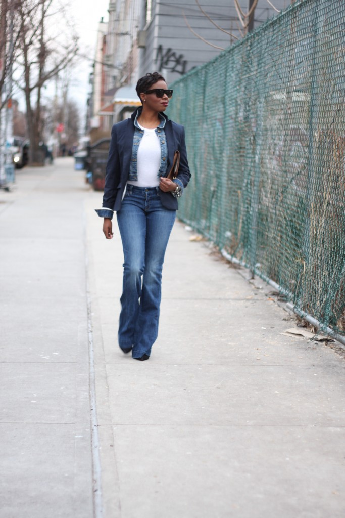 Navy Blazer Denim Jacket Layer Flare Jeans Outfit