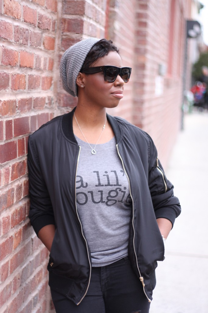 Off Duty Casual Style Bomber Jacket Graphic Tee Side View