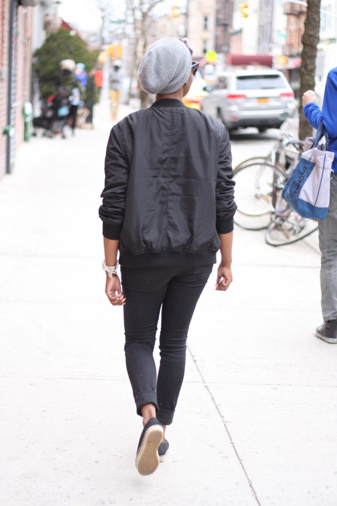 Off Duty Casual Bomber Jacket Graphic Tee Ripped Jeans Espadrilles Rear View