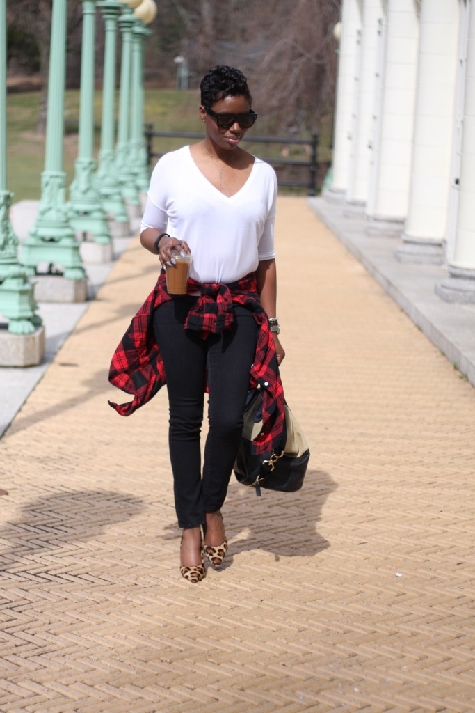 plaid shirt white tee black jeans mixing prints layers spring 2016 style