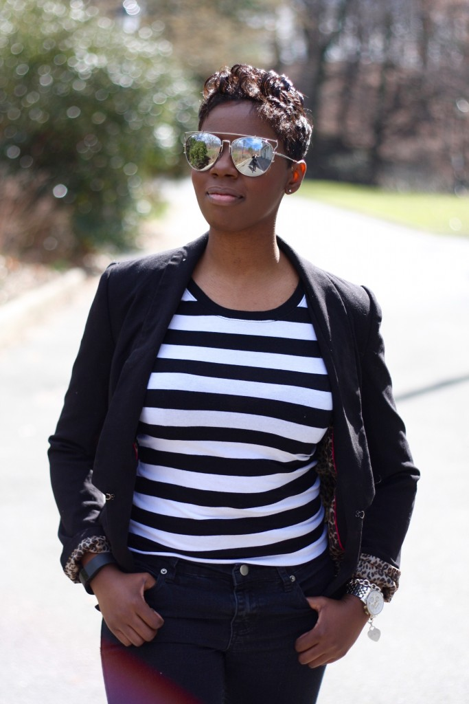 casual friday black blazer striped shirt black skinny jeans up close spring 2016