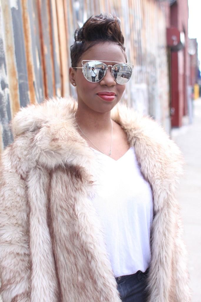 faux fur coat white top mirrored sunglasses winter 2016 finale detail