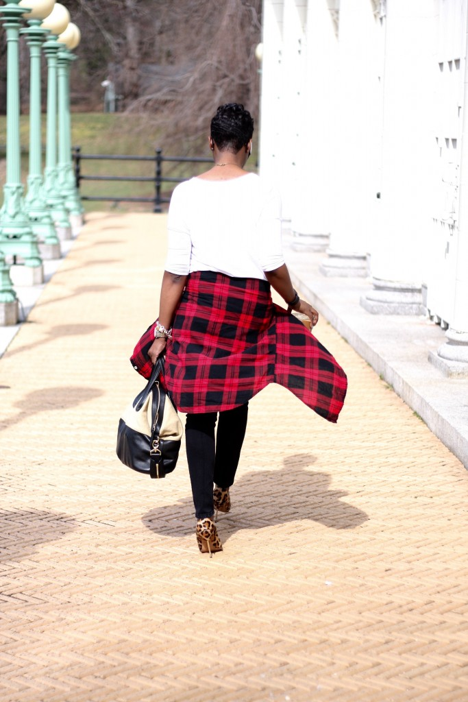 plaid shirt white tee black jeans mixing prints layers rear view