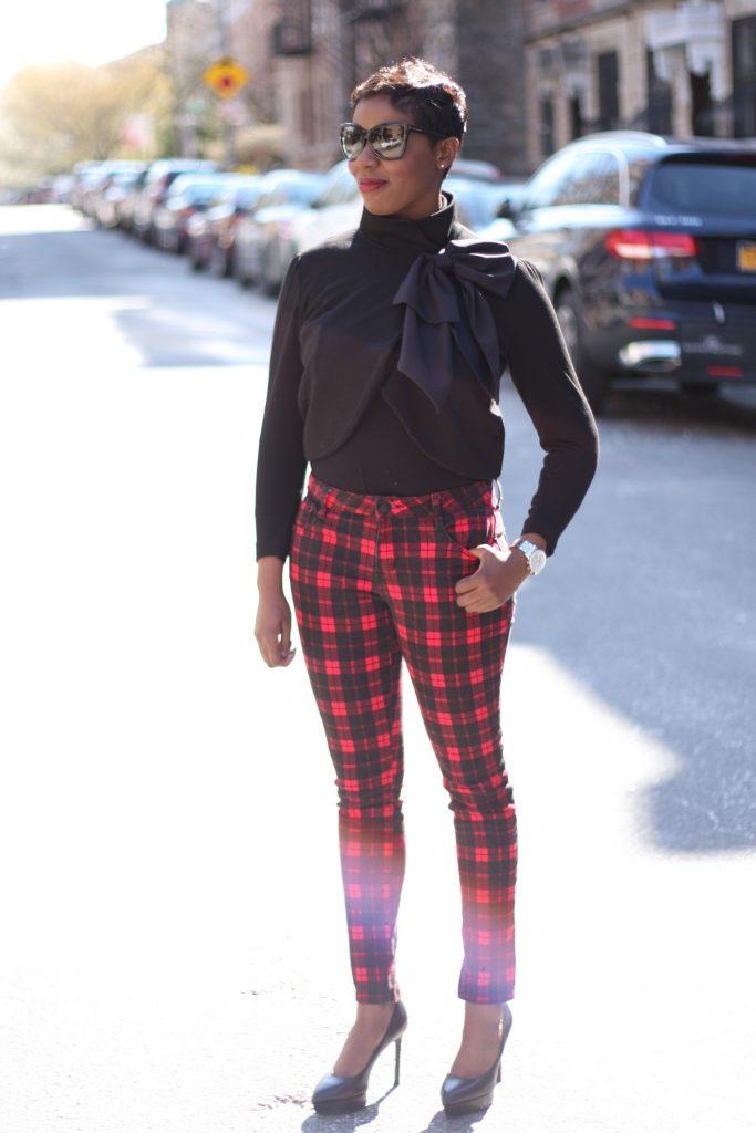 bow jacket plaid pants black pumps fashion