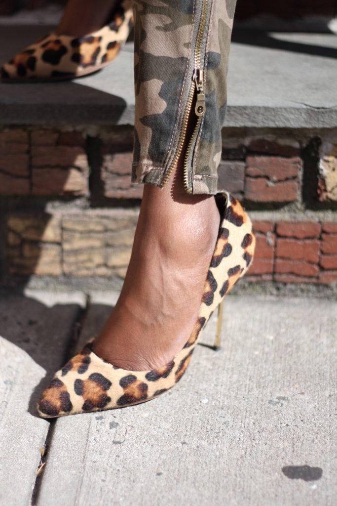 camo pants leopard pumps detail