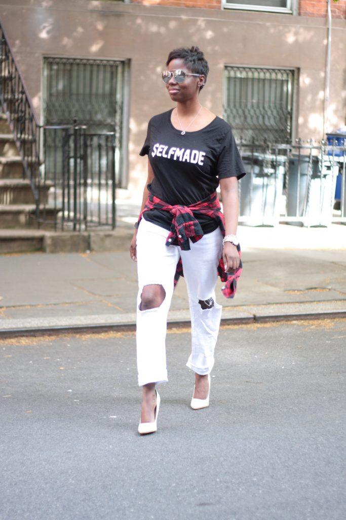 graphic tee plaid shirt boyfriend jeans white pumps spring NYC fashion