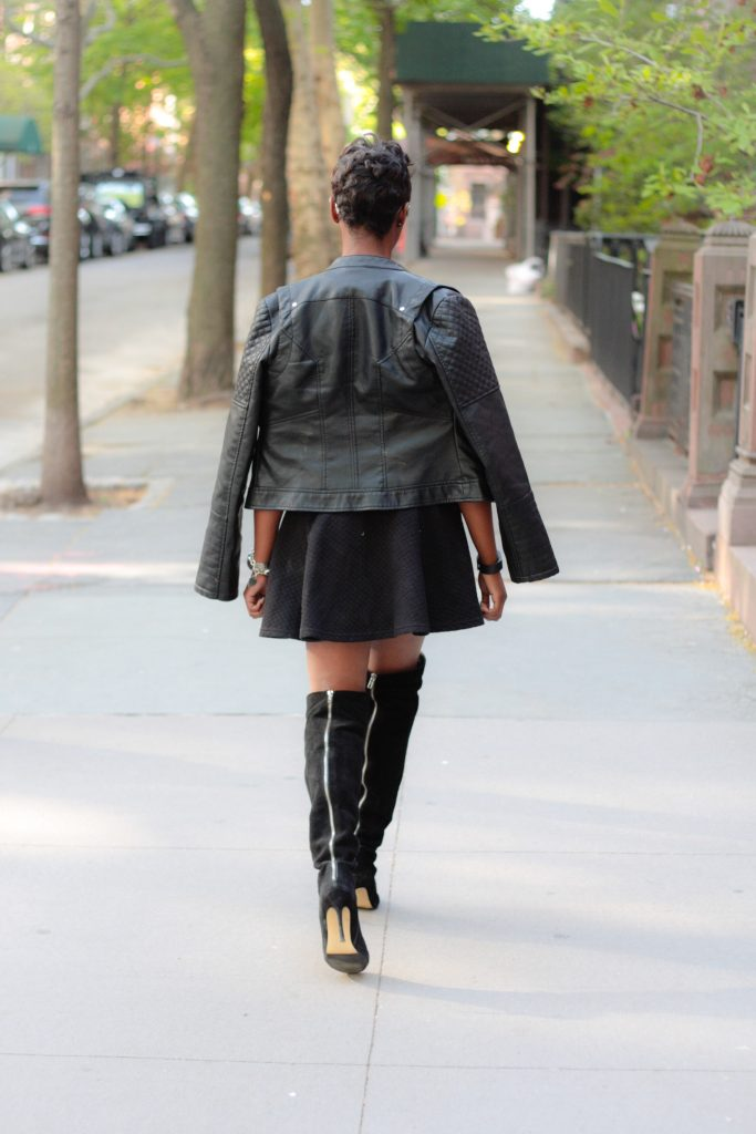 leather jacket sequin tshirt black miniskirt OTK boots mirrored aviators spring 2016 style back view