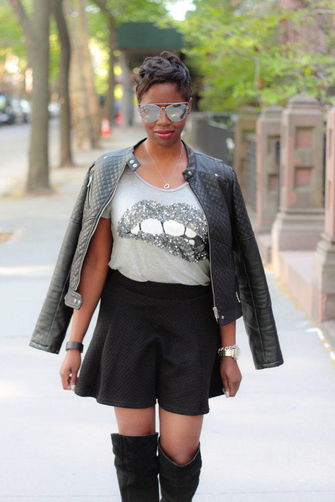 leather jacket sequin tshirt black miniskirt mirrored aviators spring 2016 style