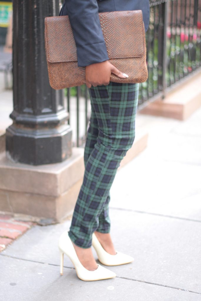 preppy navy blazer plaid pants envelope clutch white pumps spring 2016