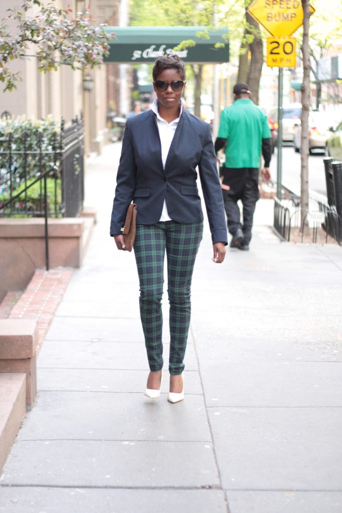 preppy white blouse navy blazer plaid pants white pumps envelope clutch spring 2016 NYC style