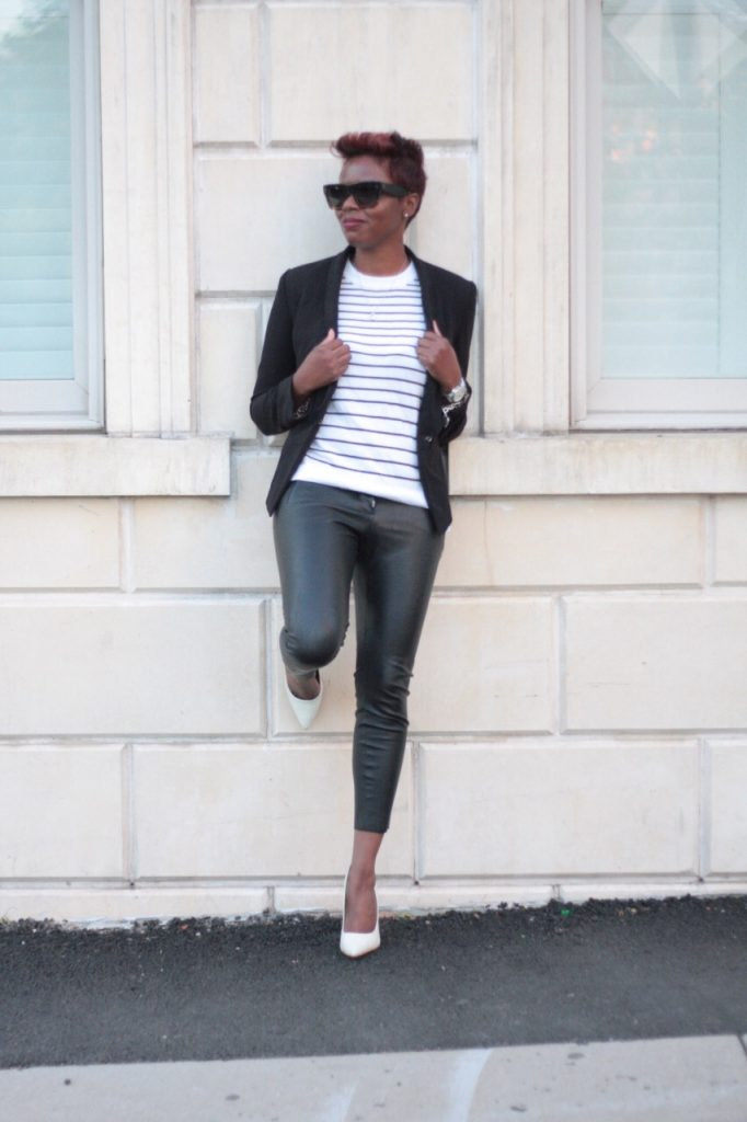 the white rose leather pants striped shirt black blazer white pumps fashion