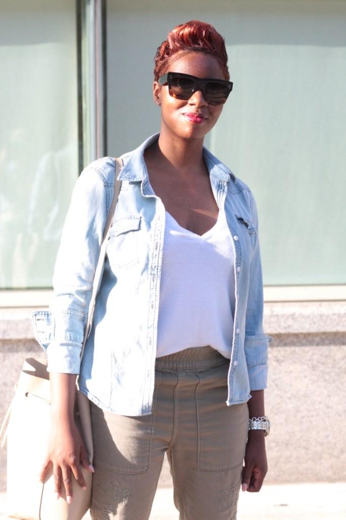 summer staples chambray shirt white tshirt olive joggers bucket bag NYC fashion