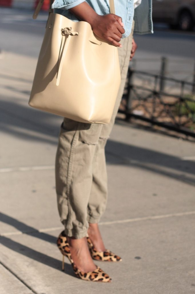 summer staples olive joggers bucket bag leopard pumps NYC fashion