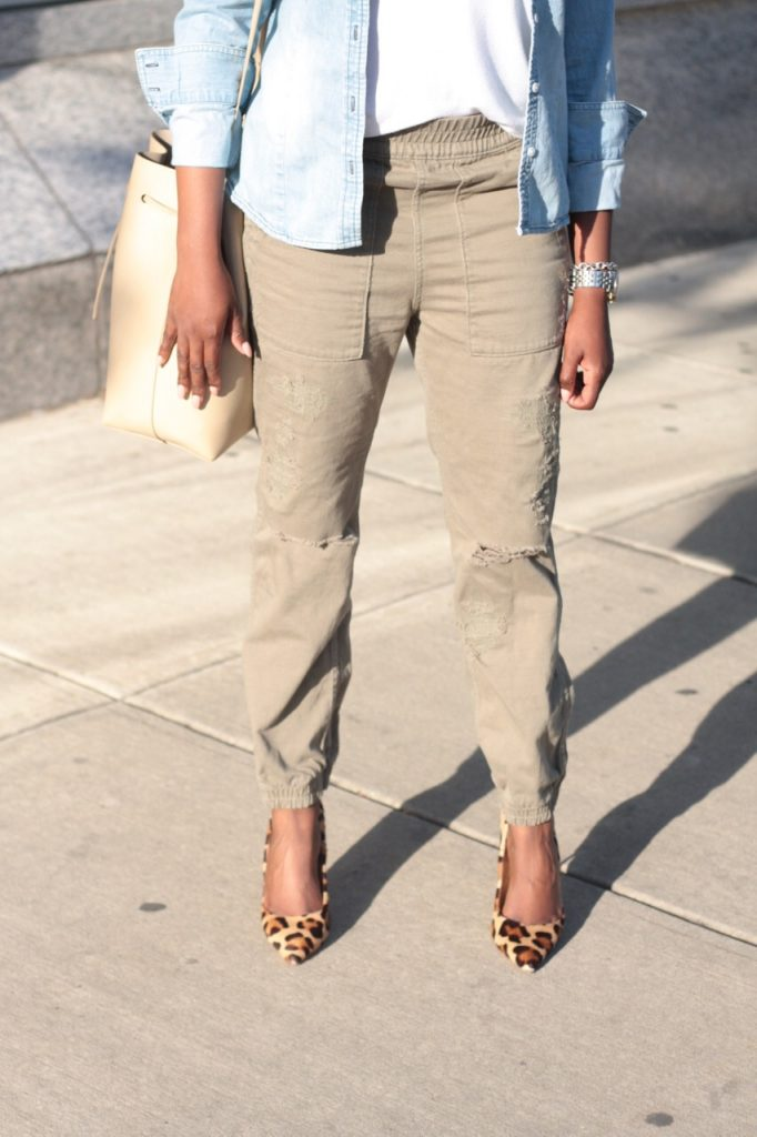summer staples olive joggers leopard pumps bucket bag NYC fashion
