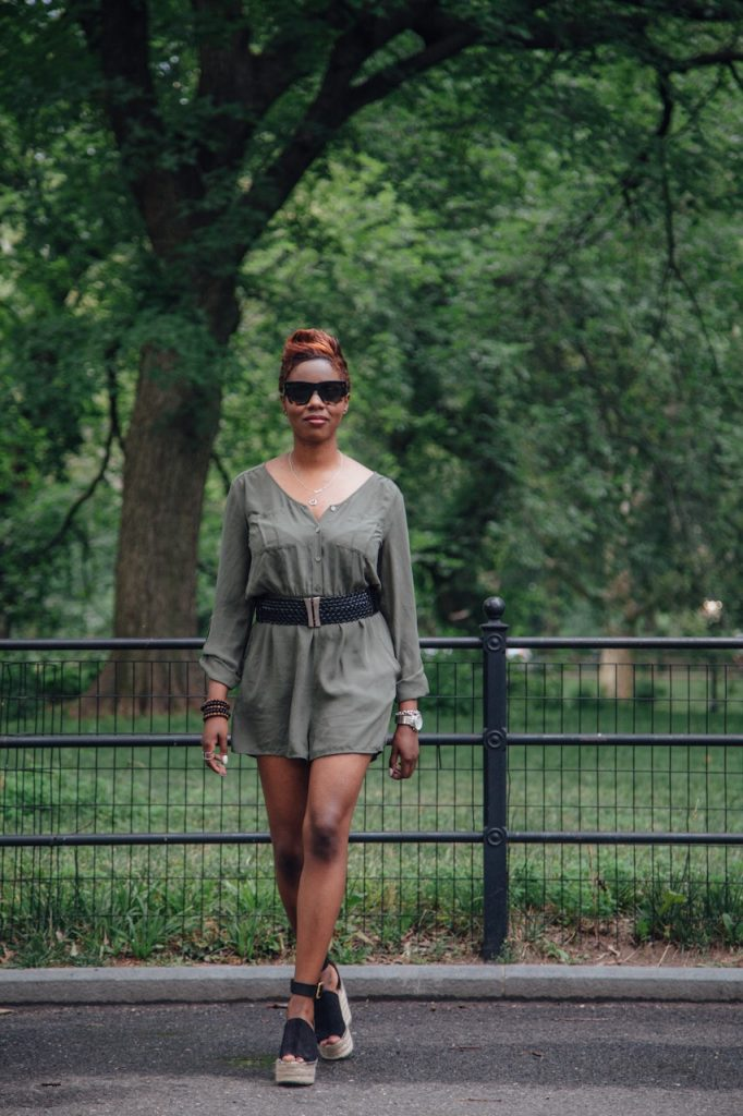 olive romper black belt chloe wedges central park NYC fashion