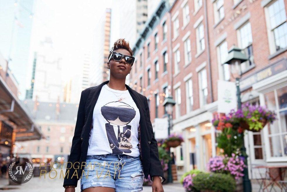 black blazer karl who tshirt girlfriend shorts summer style 2016