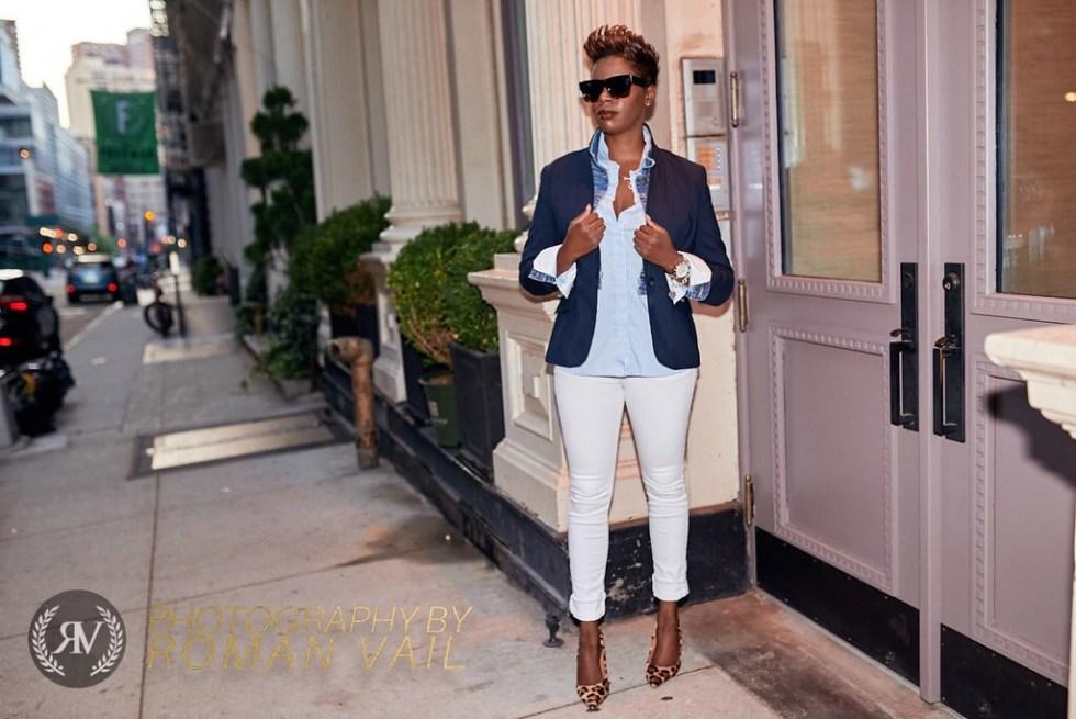 navy blazer denim jacket striped shirt white jeans leopard pumps summer style 2016
