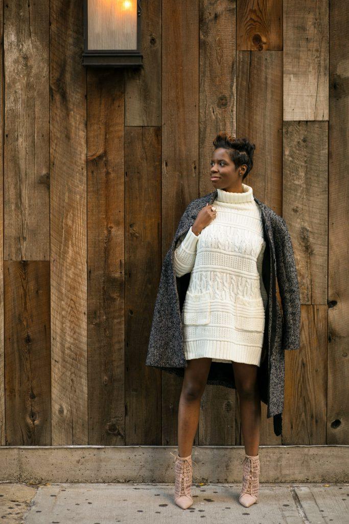herringbone coat sweater dress ankle boots fall fashion 2016