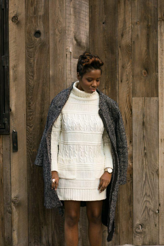 herringbone coat sweater dress nyc fall fashion